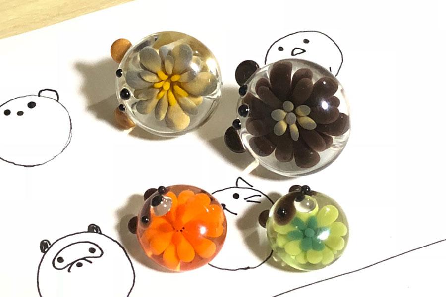 とんぼ玉教室京橋校(大阪)特別講座「お花入りの動物さんを作ろう!」9
